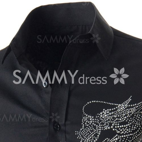 Stylish Fitted Turn-down Collar Beads Embellished Long Sleeves Cotton Blend Shirt For Men
