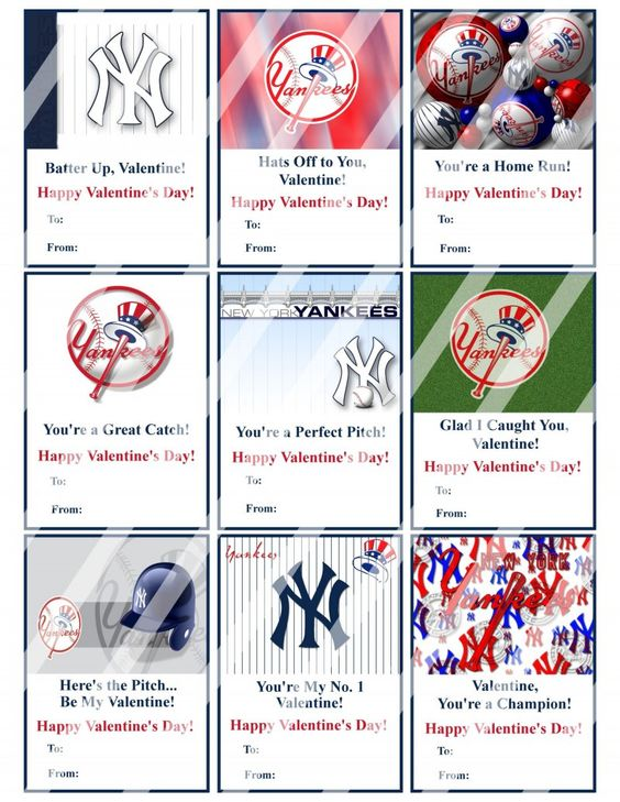 New York Yankees Valentines Day Cards Sheet #2 (instant download - new valentine's day music coloring pages