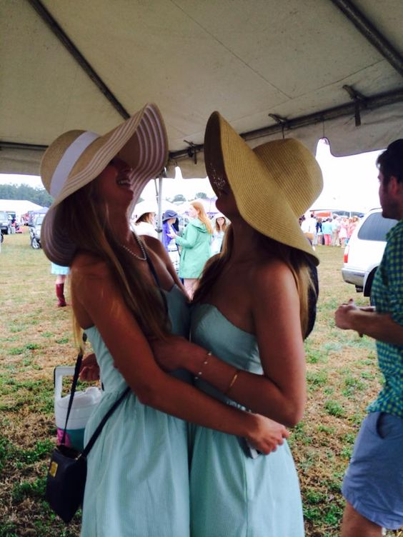 besties in mint dresses and derby hats.