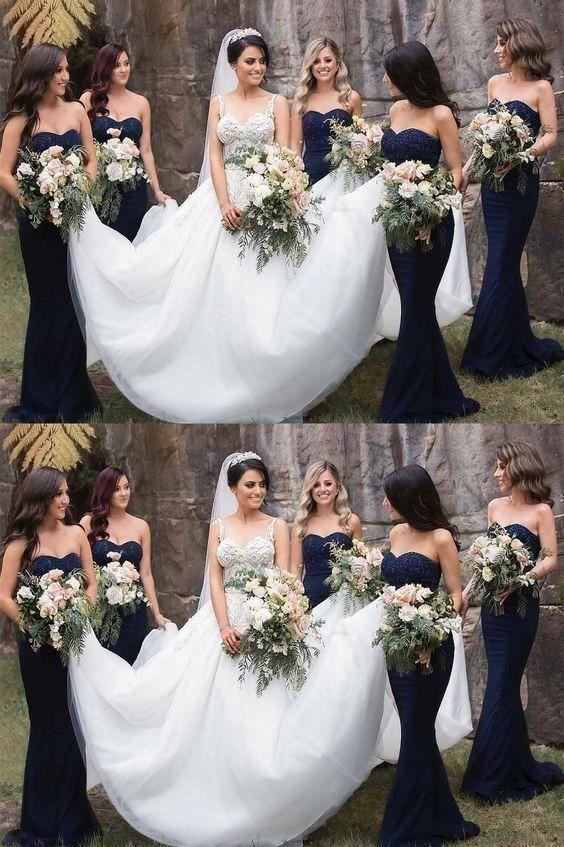 Gorgeous Strapless Navy Blue Mermaid Long Bridesmaid Dresses