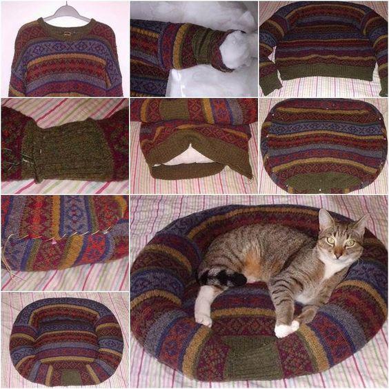 DIY cama cómoda para mascotas de Old suéter pulgar