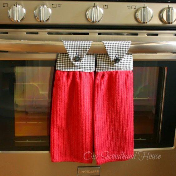 Fabriquer des serviettes de four facilement et pour presque rien couture pinterest - Hanging kitchen towel tutorial ...