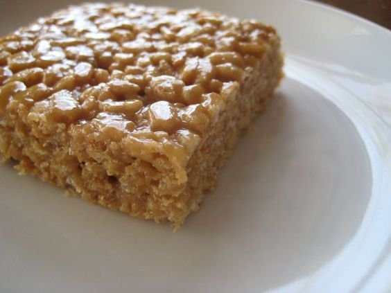 Peanut butter rice crispy treats... minus icky bone-filled marshmallows!  :-D