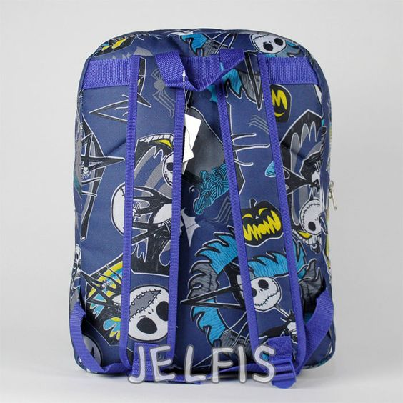 """Jelfis.com - The Nightmare Before Christmas 16"""" Large Blue School Backpack for Kids or Adults, $20.95 (http://www.jelfis.com/the-nightmare-before-christmas-16-large-blue-school-backpack-for-kids-or-adults/)"""