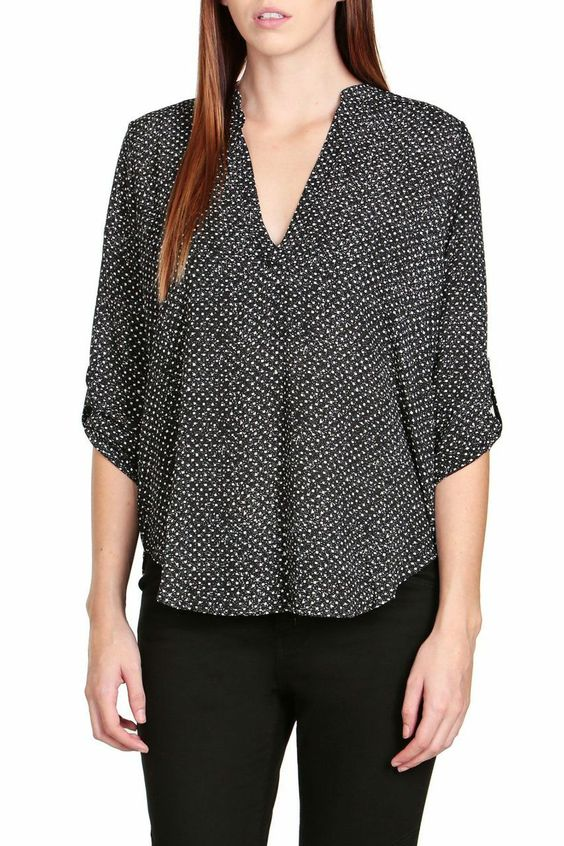 Square Dot Print Blouse-FINAL SALE