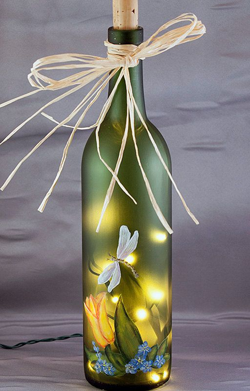 Lighted Wine Bottle Hand Painted Tulip and by RecycleThyme on Etsy