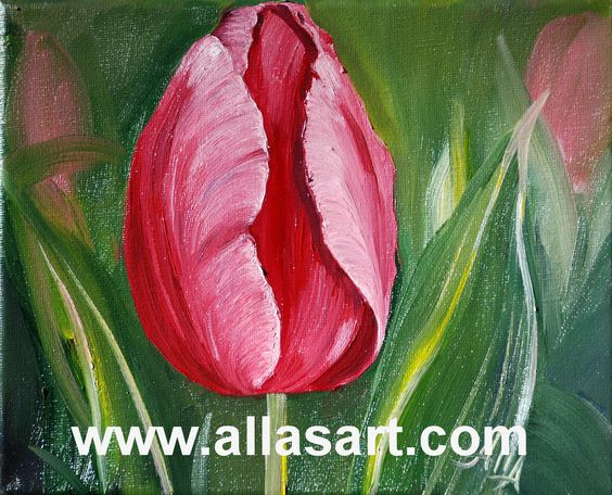 """""""Pink Tulip"""" by Alla Dickson, oil on canvas. 8x10."""