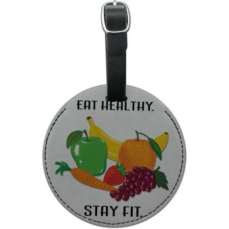 Eat Healthy Stay Fit Fruits Diet Round Leather Luggage ID Tag Suitcase Carry-On, Multicolor