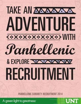 2014 UNT Panhellenic Recruitment Book! Check it out! #gogreekunt #untpanrecruitment14