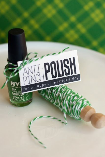 Anti-Pinch Nail Polish St. Patrick's Day Free Printable Gift Tags via eighteen25 - Help your friends out this St. Patrick's Day with some Anti-Pinch Polish in a lovely shade of green. Just print the tags out and attach to some green polish with twine. Or place in a 4×6 clear plastic bag with some paper crinkle. a quick little gift that is practically guaranteed to keep the  pinches away!
