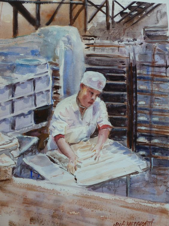 "Boudin Bakery, San Francisco  Original Watercolor painting on paper 9"" x 12""  Acuarela sobre papel"