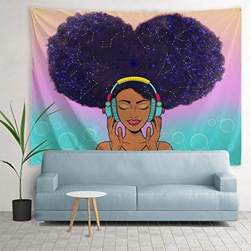Ortigia African American Black Girl Tapestry Wall Hanging Home Decor Constellation Theme For Tapestry Wall Hanging Wall Tapestry Wall Hanging