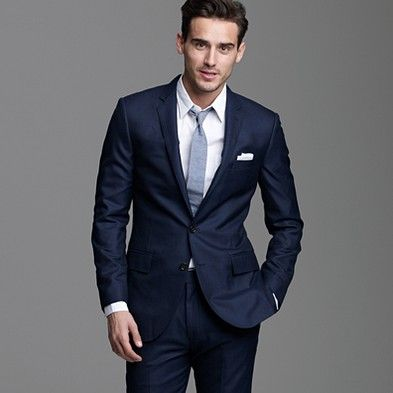 A nice navy modern suit. This is just an example, not a brand