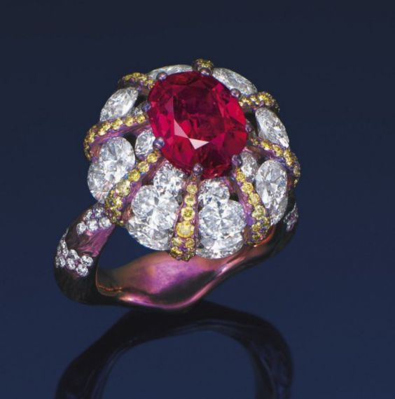 A RUBY, DIAMOND AND COLOURED DIAMOND RING, BY WALLACE CHAN