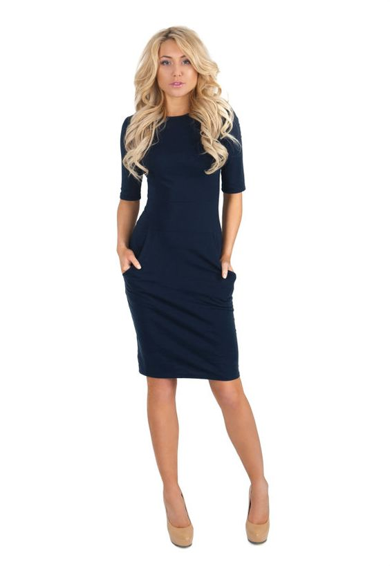 Dark Blue Jersey Pencil Dress  short Sleeve Casual Dress with ...