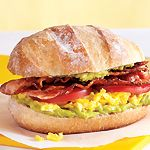 guacamole, scrambled eggs, bacon, sliced tomatoes