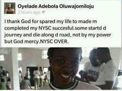 ArmanikEdu: NYSC Over - 'as in English tins'.