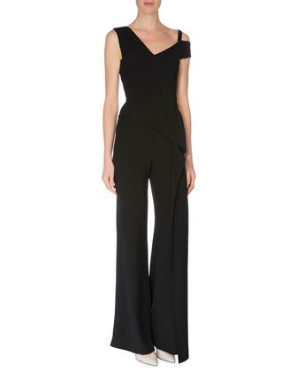 Off-The-Shoulder+Straight-Leg+Jumpsuit,+Black+by+Roland+Mouret+at+Neiman+Marcus.: