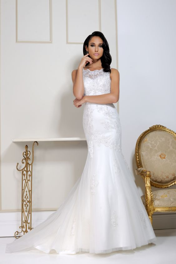 Style 2553 A tulle fishtail gown with sequin & crystal detailing, lace illusion neckline