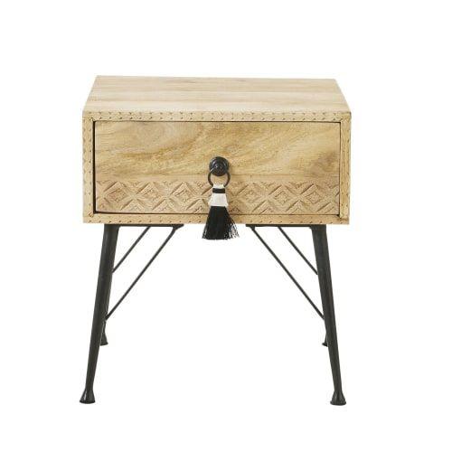 Table De Chevet 1 Tiroir En Manguier Massif Et Metal Maisons Du Monde Table De Chevet Tiroir Boites De Rangement Decoratives