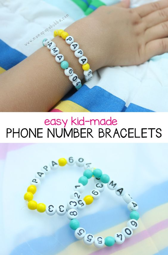 Easy Kid-Made Phone Number Bracelets - Mama.Papa.Bubba.