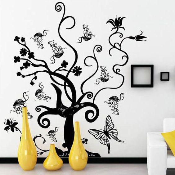 Stickers rattan arbre fleur abstrait autocollant for Autocollant dcoratif mural