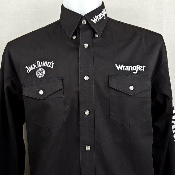 Wrangler Jack Daniels No. 7 Embroidered Twill Men's XL Oxford Long Sleeve Shirt
