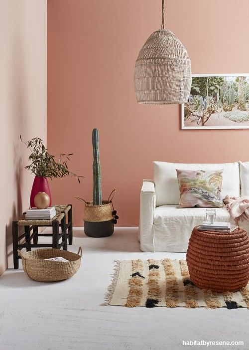 By Using Two Muted Sunset Pinks This Space Is Kept From Become Overpowering The Lighter Colo Feature Wall Living Room Living Room Wall Color Pink Living Room #peach #color #living #room