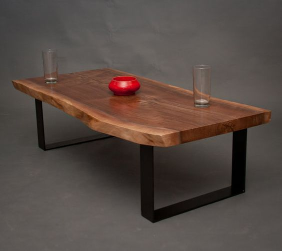 Your Custom Live Edge Black Walnut Coffee Table Natural Rustic Modern Wood Tables