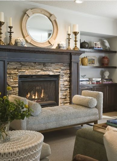 """I like this idea to revamp our fireplace. Sand and paint or re-stain wood like this and add stone. - """"I have the stone, scared to paint the wood."""""""