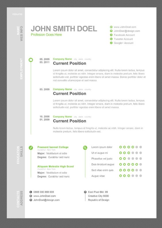 Creative Resume Templates PhotoshopTemplates Of Resumes Resume - resume template creative
