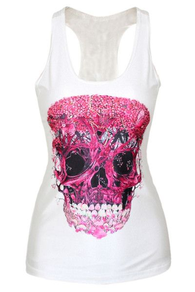 Do you also love this white tank top with pinky sugar skull art pattern on front panel? Ok, it was worn extremely comfortably, sexy scoop neck, sleeveless sexy and racerback. Pinky Sugar Skull Art Print White Tank Top is slim formfitting to show out a curvy figure.