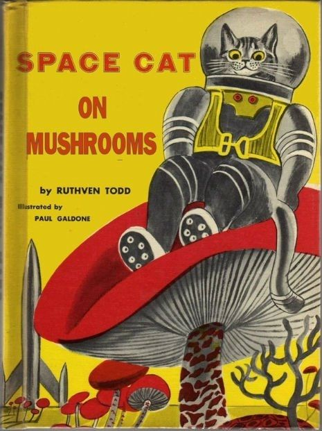 space cat on mushrooms ?  I can only imagine what the author was up to! Lol