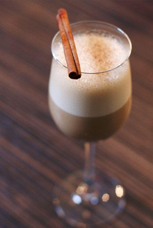Blitz...•3/4 ounces Baileys Original Irish Cream   •1 1/8 ounces Zacapa Rum   •1 3/4 ounces Cold Brew Coffee   •1/16 ounce Cinnamon Syrup   •Pinch of Freshly Ground Cinnamon