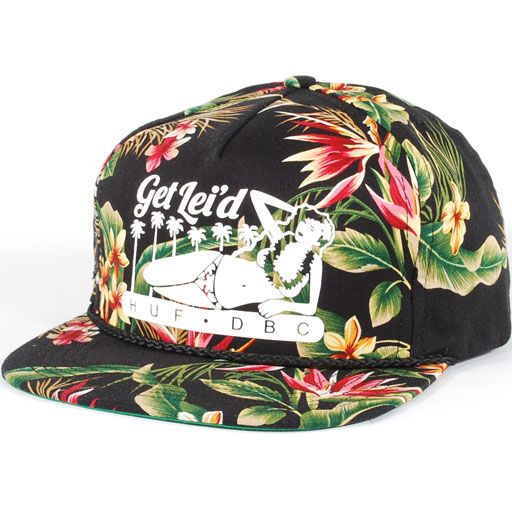 Huf Get Lei'd Snapback Hat (Black Blossom) $35.95