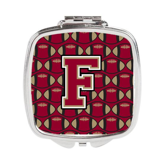 Letter F Football Garnet and Gold Compact Mirror CJ1078-FSCM