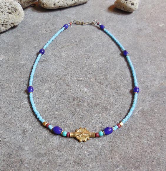 Böhmische Halskette, Stammes-Schmuck, Türkis Halskette, Boho Kette, afrikanische Messing Sonne Anhänger, Boho Sommerstrand, böhmischen Schmuck reduziert