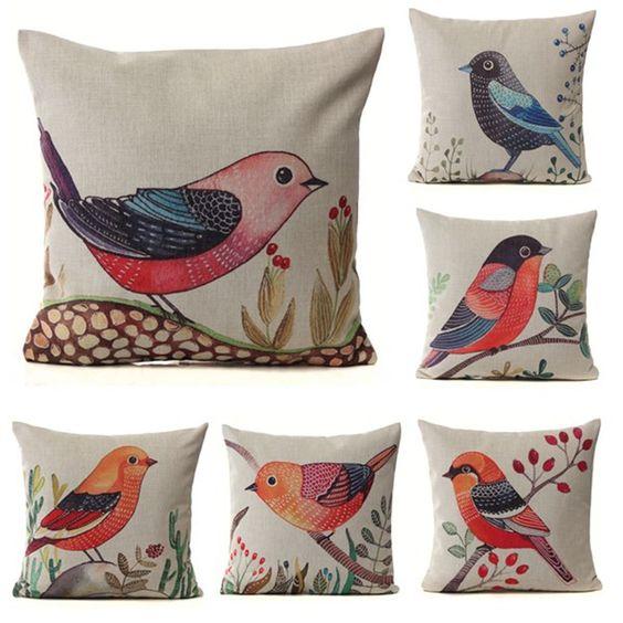 Cotton Linen Flower Bird Animal Print Cushion Cover Pillow Case Home Sofa Decor | eBay