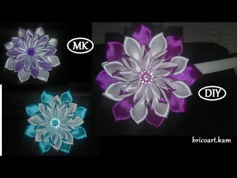 DIY/How to/Kanzashi/Ribbon flower tutoriel/Flor de cinta/MK/канзаши…