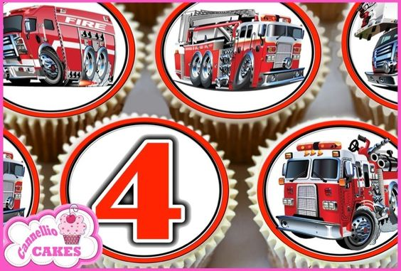 24 x FIRE ENGINES HAPPY BIRTHDAY EDIBLE CUP CAKE TOPPERS WAFER RICE PAPER 8085