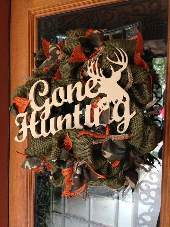 Gone Hunting Burlap Camo Wreath by TheLacyLadybug on Etsy, $55.00