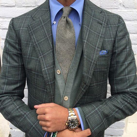 Dépareillé / Cardigan / Motifs / Couleurs / Cravate