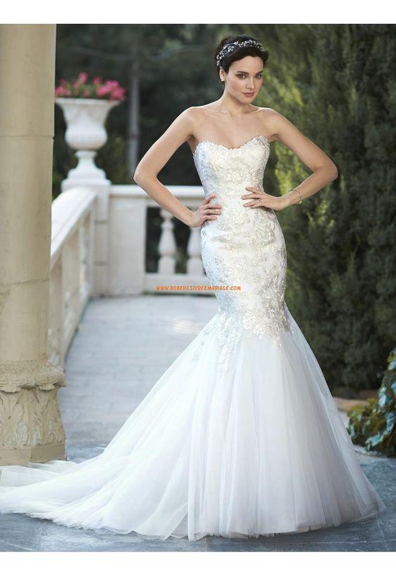 Robes de mariée en tulle applique sirène pas cher moderne chic lacets