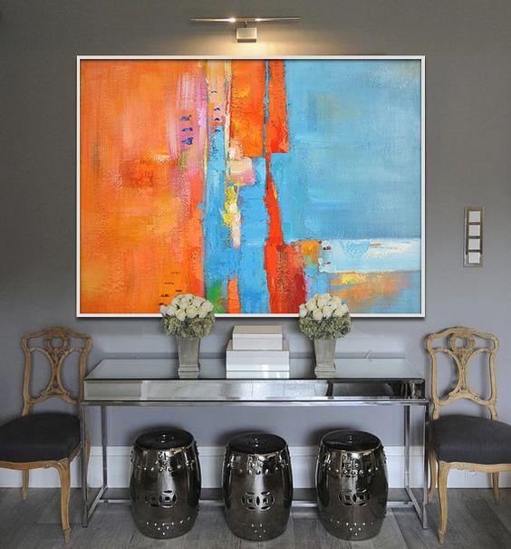Gran pintura hecha a mano, Arte Original, gran arte de la lona. Arte contemporáneo, arte moderno pintura abstracta. Naranja, azul, amarillo, rojo.