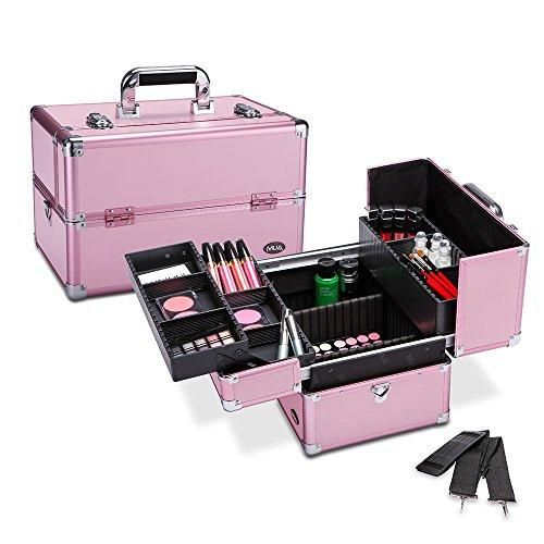 Makeup Train Case 14 5 Professional Cosmetic Organizer Box With Remov Makeup Storage Box Makeup Train Case Makeup Storage