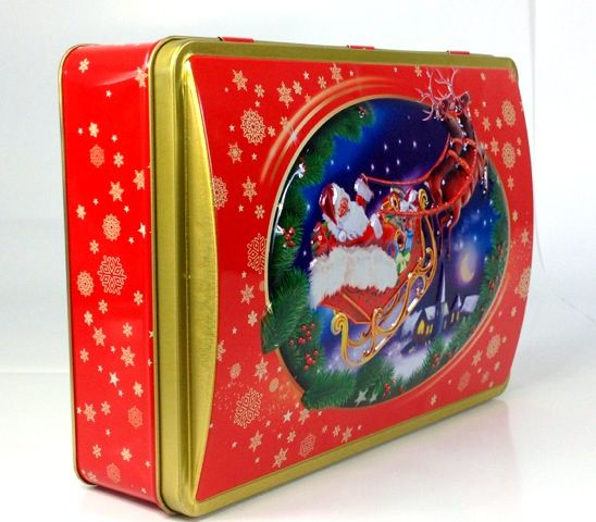 Domed lid Christmas cookie tin