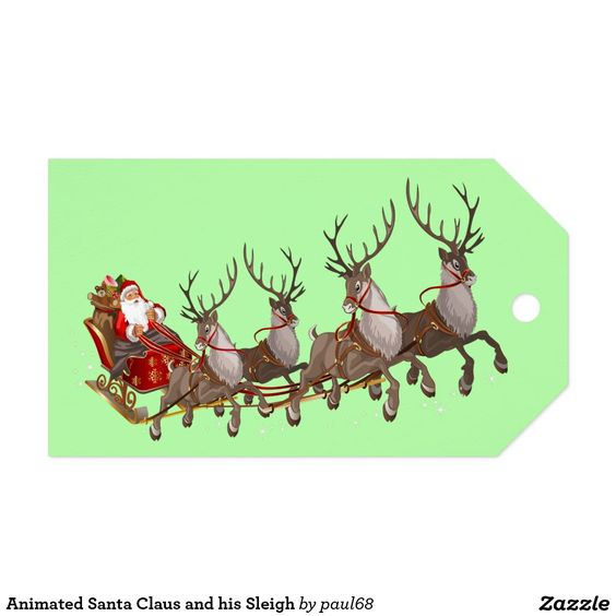 Animated Santa Claus and his Sleigh Pack Of Gift Tags