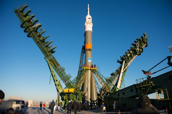 https://flic.kr/p/peGZTg | Expedition 42 Soyuz Rollout | 201411210025hq (21 November 2014)---  The gantry arms close around the Soyuz TMA-15M spacecraft to secure the rocket at the launch pad on Friday, Nov. 21, 2014 at the Baikonur Cosmodrome in Kazakhstan. Launch of the Soyuz rocket is scheduled for Nov. 24 and will carry Expedition 42 Soyuz Commander Anton Shkaplerov of the Russian Federal Space Agency (Roscosmos), Flight Engineer Terry Virts of NASA , and Flight Engineer Samantha…
