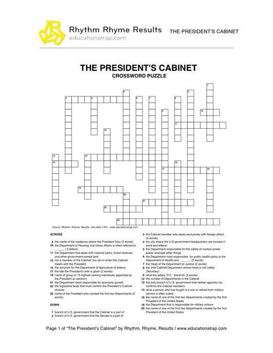 social studies worksheets | presidents-cabinet-crossword.jpg ...