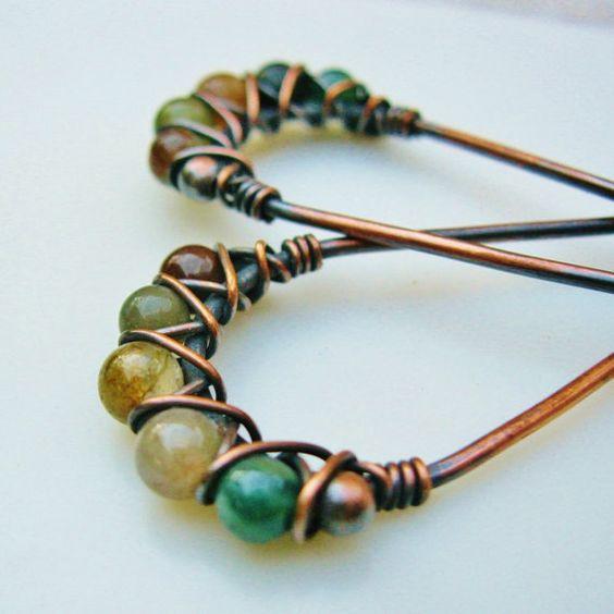 Copper Hoops with Fancy Jasper beads criss cross wire wrapped earrings by BearRunOriginals on Etsy.